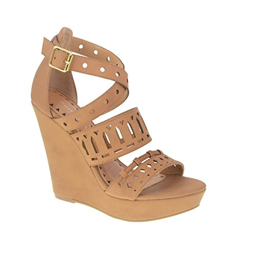 Chinese Laundry Women's Montrose Wedge Sandal, Camel Smooth, 10 M US