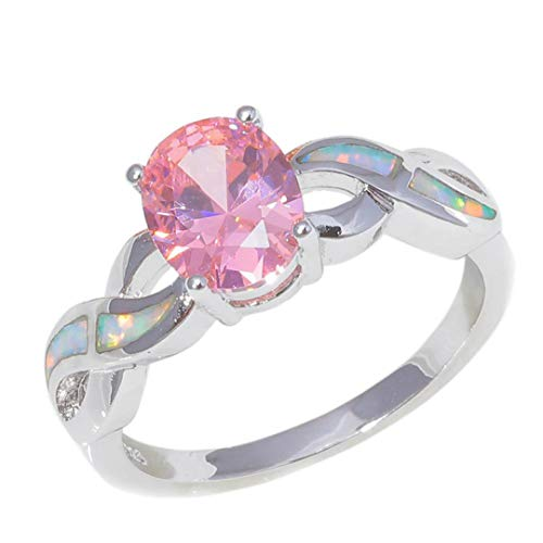 MARRLY.H Created White Blue Fire Opal Silver Plated for Women Jewelry Engagement Gift Ring Pink 6