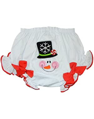 Mudpie Baby-Girls Christmas Bloomer Collection (12-18 Months, White/Snow Man)