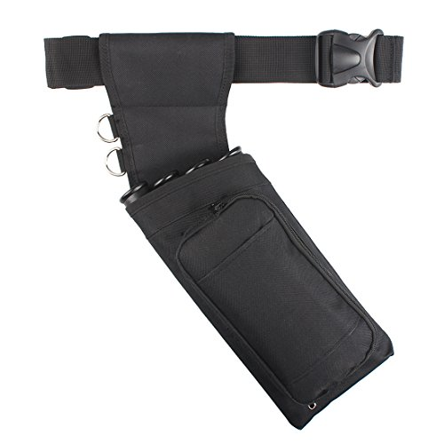 KRATARC Archery Arrow 4 Tube Field Quiver Pocket Hip Waist Quiver with Adjustable Belt (Black)