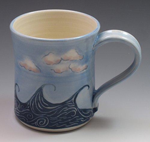 (Porcelain Wave and Cloud Mug, Coffee Cup)