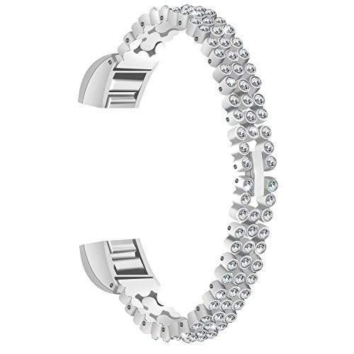 For Alta HR & Alta Bands TenYun Replacement Luxury Color Crystal Embellishment Bling Bling Man & Woman Stainless Steel Metal Band Strap / Bangle For Fitbit Alta HR & Alta (White Crystal-Silver)