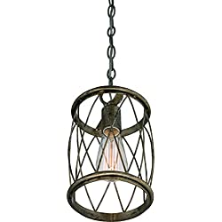 "Luxury French Country Pendant Light, Small Size: 11.25""H x 6.5""W, with Shabby Chic Style Elements, Gold Accented Silver Leaf Finish and Metal Lattice, Includes Edison Bulb, UQL2264 by Urban Ambiance"