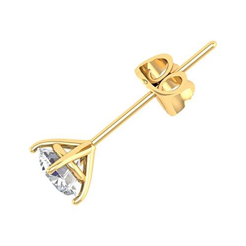 IGI Certified 14K Yellow Gold Round Shape Single Diamond Stud Earring (0.05 Carat) (Single Ct 0.05)