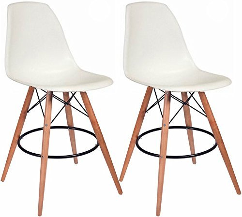Mod Made Mid Century Modern Armless Paris Tower Barstool Chair with Natural Wood Legs for Bar or Kitchen- White (Set of 2) ()
