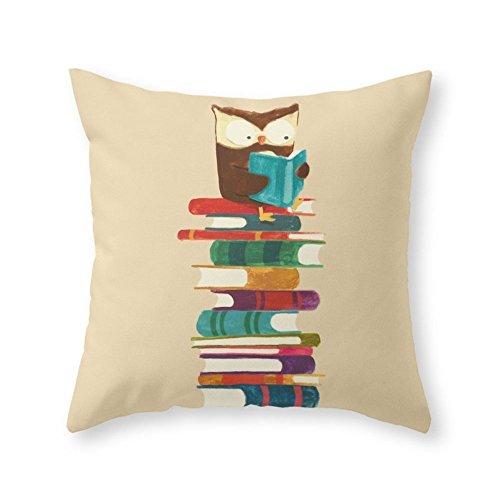 Society6 Owl Reading Rainbow Throw Pillow Indoor Cover (16