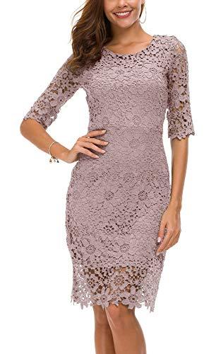 Urban CoCo Women's Lace Sheath Dress Slim Fit Midi Dress (M, -