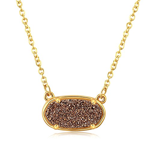 Ellena Rose Dainty Druzy Necklace, 100 Percent Natural Druzy, 14K Gold Plated Oval Druzy Pendant Necklace for Women, Druzy Necklaces for Women, Genuine Druzy Jewelry (Rose - Blue Oval Pendant