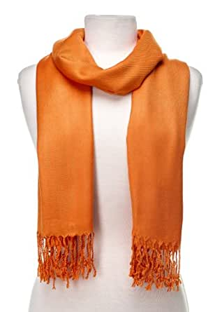 "Gift Packaged ""Olive N Figs"" Solid Plain Pashmina with a Complimentary Gift - Orange"