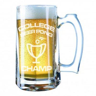 Giant Beer Mug 28 Ounces Beer Stein - College Beer Pong Champ Winning Trophy Gift- Laser Engraved