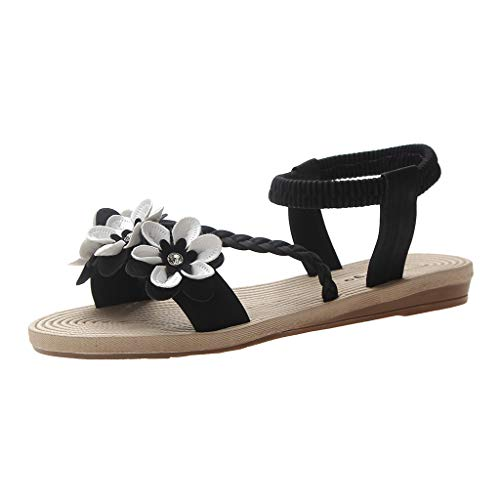 (Women Boho Flat Sandals,❤️ FAPIZI Open Toe Flower Weave Rome Shoes Casual Elastic Band Walking Beach Shoes Sandals Black)