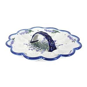 Blue Rose Polish Pottery Lavender Fields Egg Plate
