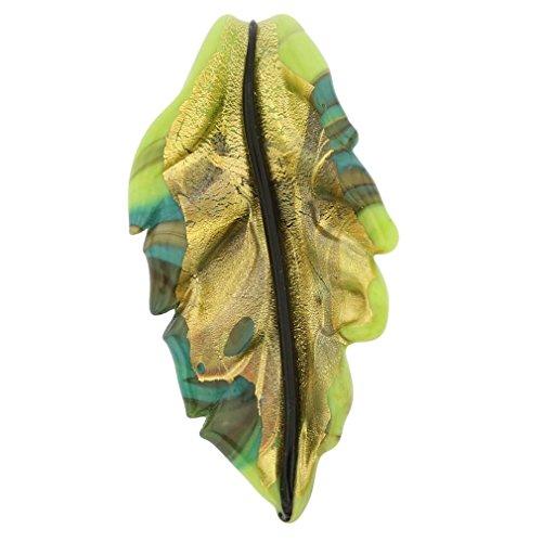 GlassOfVenice Murano Glass Chalcedony Leaf Pendant ()