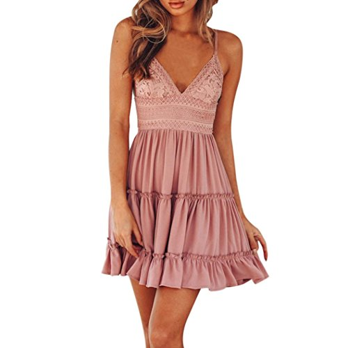 - AmyDong Women's Dress, Summer Backless Mini Dress White Evening Party Dresses Sexy Lace Suspenders Stitching Dress (M, Pink)