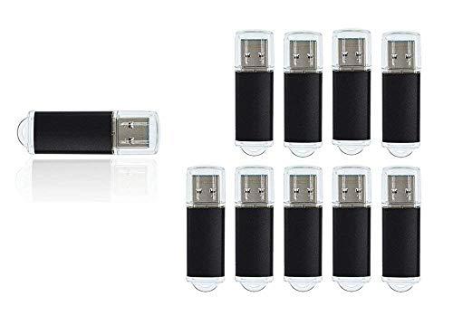 8GB USB 3.0 Flash Drive Bulk 10 Pack Thumb Drives - Fashion Metal Memory Stick Pendrive - FEBNISCTE Black Data Storage Zip Drive Jump Drive (Flash Fashion)