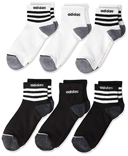- adidas Kids' - Boys/Girls 3-Stripe Quarter Socks (6-Pair), Black/White/Black - Onix Marl White/Black/Onix, 3Y-9