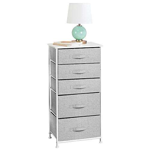mDesign Vertical Dresser Storage Tower - Sturdy Steel Frame, Wood Top, Easy Pull Fabric Bins - Organizer Unit for Bedroom, Hallway, Entryway, Closets - Textured Print - 5 Drawers - Gray/White