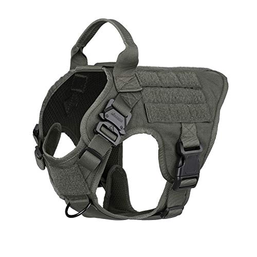 ICEFANG Tactical Dog Harness,K9 Working Dog Vest,No Pulling Front Leash Clip,Metal Buckle,Hook and Loop Fastener Sticky Backing for Dog Patch (S (22-27 Girth), RG-Metal Buckle)