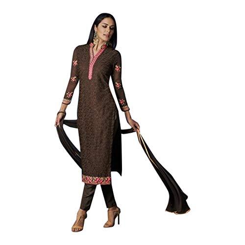 Brown Straight Georgette Formal Salwar Kameez Churidar Punjabi Muslim Suit Festival 8217 ()