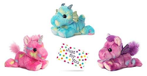 J4U Jellyroll Unicorn, Sprinkles Dragon, and Tutti Frutti Pegasus Bright Fancies Plush Beanbag Animals Set with Gift Tag - Unicorn With Wings Stuffed Animal