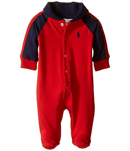 Ralph Lauren Baby Baby Boy's Rugby Jersey Shawl Collar Coverall (Infant) RL 2000 Red Baby One Piece 6 mos