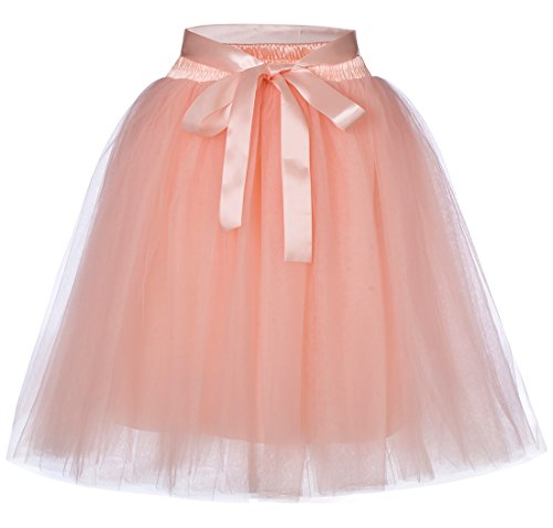 Women's High Waist Princess Tulle Skirt Adult Dance Petticoat A-line Wedding Party Tutu(Peach),One (High School Dance Line Costumes)
