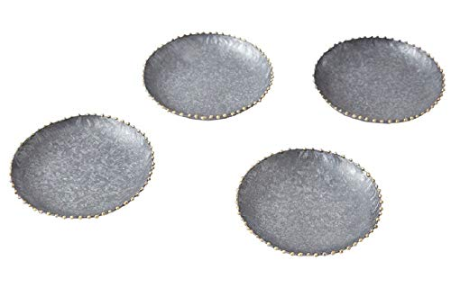 "Set of 4 Silver Tin Beaded Coasters. 4"" Diameter"