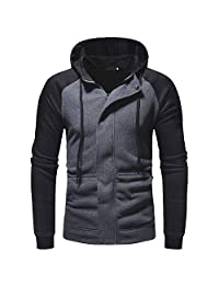 Theshy Men's Long Sleeve Autumn Winter Splicing Casual Sweatshirt Hoodies Top Blouse