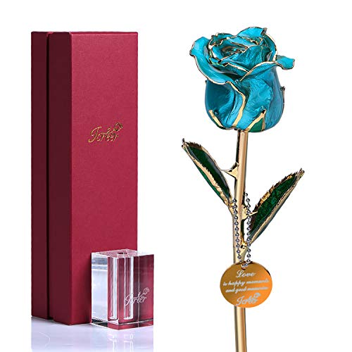 Icreer 24k Gold Dipped Blue Rose with Crystal Stand,The Present for Mother's Day/Anniversary/Birthday/Wedding and Proposal,Gifts for Her/Mom/Wife/Girlfriend
