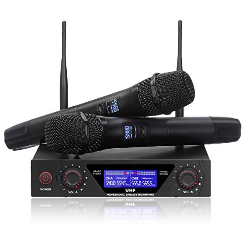 NASUM UHF Dual Channel Professional Handheld Wireless Microphone System with