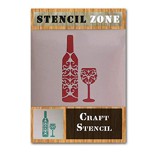 Vintage Rustic Wine Bottle Glass Mylar Airbrush Painting Wall Art Crafts Stencil-L ()
