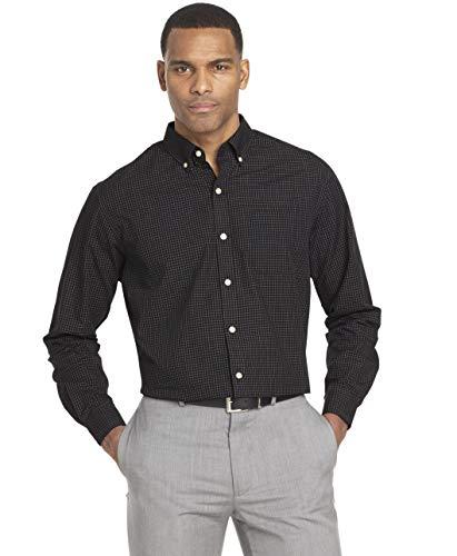 Van Heusen Men's Wrinkle Free Poplin Long Sleeve Button Down Shirt, Black, XX-Large