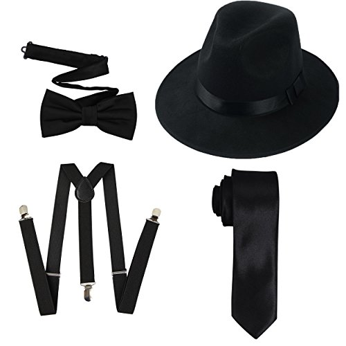 TDmall Clothing Series 1920s Mens Accessory Set Hard Felt Wide Brim Panama Hat,Y-Back Elastic Suspenders,Pre Tied Bow Tie,Skinny Tie (Black)