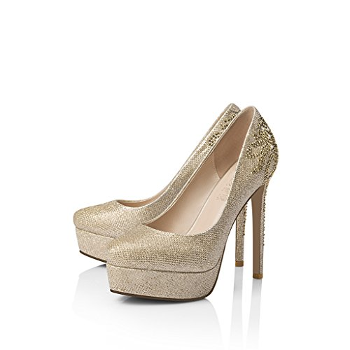 Hyun times 高いシングルシューズ女性のラインストーン結婚式の靴と防水プラットフォームラウンドハイヒールで罰金