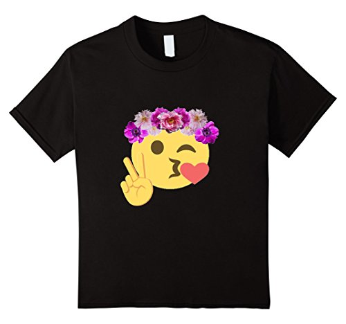 - Kids Kissy Face Smiley Peace Sign t-shirt Flower Child Hippie 12 Black