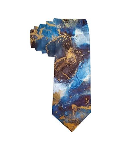 (Men's Elegant Slim Neckties Formal Suit Necktie Ties, Business Dinner Party Groom Paisley Necktie, Sky Galaxy Abstract Ink Art Extra Long Neckties Gifts for Men Boys Teen)
