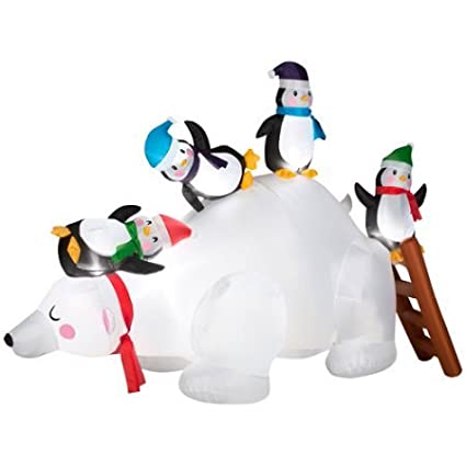 amazon com christmas inflatable polar bear slide with penguins by