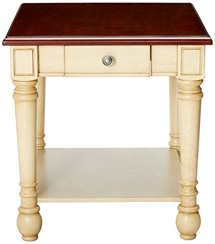 Rectangular End Table Dark Brown and Antique White - Set includes: One (1) end table Materials: Asian hardwood, ash veneer, cherry and MDF Finish Color: Dark brown and antique white - living-room-furniture, living-room, end-tables - 41eSXlq2efL -