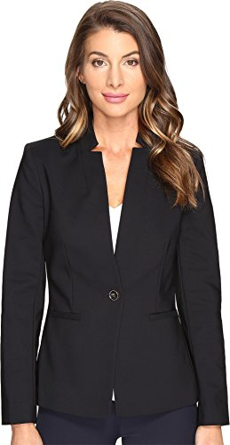 Polished Cotton Blazer (Vince Camuto Women's One-Button Notch Collar Blazer Rich Black 2)