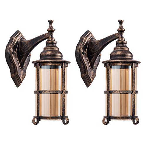 Bronze Medium Outdoor Wall - Waterproof Outdoor Light, Oil Rubbed Bronze Finish Rustic Exterior Wall Sconces Fixture Industrial Glass Shade Lantern Lighting Retro Lamp Metal Farmhouse Indoor Sconce for Bedroom Porch(2 Pack)