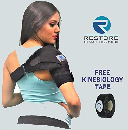 Shoulder Stability Brace with Pressure Pad for Men and Women by RHS. Bonus Kinesiology Tape. Support and Injury Prevention for Rotator Cuff, Dislocated AC Joint, Tendinitis, Bursitis, Shoulder Pain.