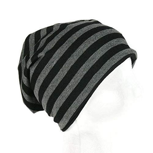 10f95fc7263 Amazon.com  Black and Grey Stripe Beanie Unisex Black and Gray Striped  Slouchy Beanie Unisex Black and Grey Stripe Jersey Slouch Hat CUSTOM  SIZE LINING  ...