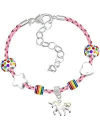 Girls Magical Unicorn Sparkly Charm Bracelet Set with Greeting Card and Gift Box Girls Jewelry