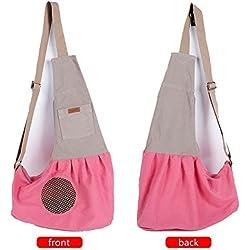 Pet Sling Carrier, Kuoser Hands-free Dog Pet Sling Bag Shoulder Carry Bag Sling Pet Carrier Pouch with Extra Pocket, Single Shoulder Carry Tote Handbag for Pets,Pink