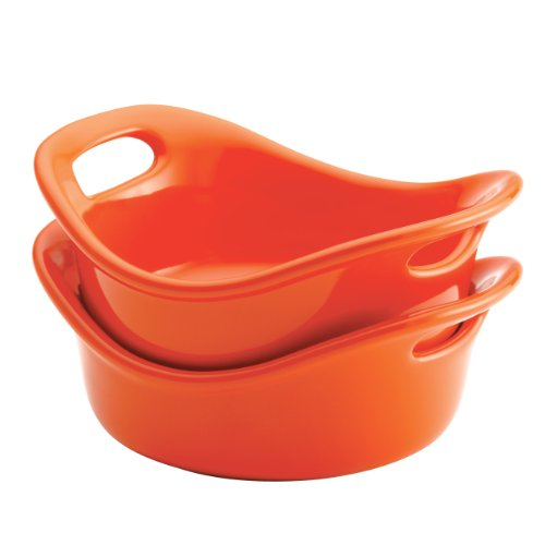 Rachael Ray Stoneware 2-Piece Set Round Bubble & Brown 12-Ounce Au Gratins, Orange