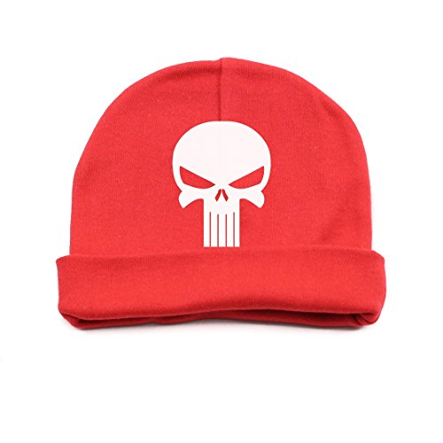 [White Punisher Skull Infant Baby Beanie Cap Winter Hat One Size, Red] (Crazy Christmas Hats)