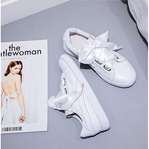 Rosa con Cerrado Zapatos Flat Negra Heel de ZHZNVX Nappa Mujer Comfort Sneakers Leather Spring Blanca Summer White Punta anCdF7P