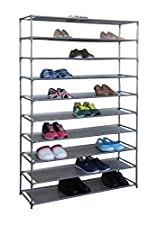 Home Basics Free-Standing Shoe Rack (10-Tier Wide)