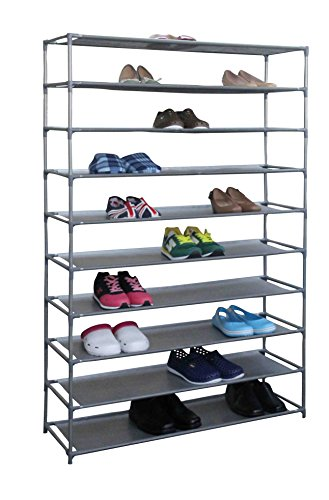 Multi Purpose Rack (Home Basics Multipurpose Free Standing 10-Tier 50 Pair Shoe Tower Storage Closet Rack Shelf For Shoes Handbags Etc. (10-Tier Wide))