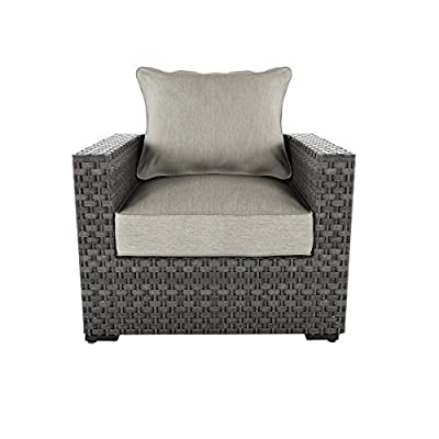 Ashley Furniture Signature Design - Spring Dew Outdoor Lounge Chair with Cushion - Gray - OUTDOOR LOUNGE CHAIR: Fashioned in shades of gray, this lounge chair has comfort and durability beyond your wildest dreams. The wicker look brings that beachy vibe you crave-without the fuss DURABLE DESIGN: Made with all weather handwoven resin wicker over a rust proof aluminum frame in a powdercoat finish. Zippered cushions are covered in high-performance Nuvella polyester HIGH STYLE: The ultra cool gray hues make it easy to pair with other decor or add an upscale look to your space. It's positively charming and comfortable pool side or underneath an umbrella - patio-furniture, patio-chairs, patio - 41eSZc EynL. SS400  -